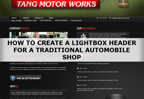 How To Create A Lightbox Header For A Traditional Automobile Shop