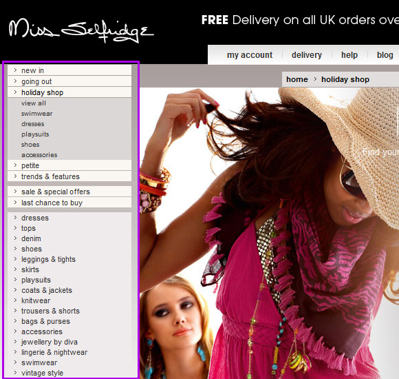 Miss Selfridge Drop Down Menu