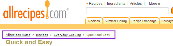 All Recipes Breadcrumbs Navigation