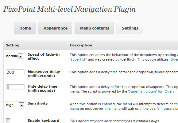 WordPress Multi Level Navigation