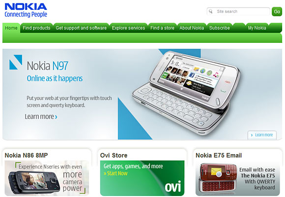 Nokia Global Homepage