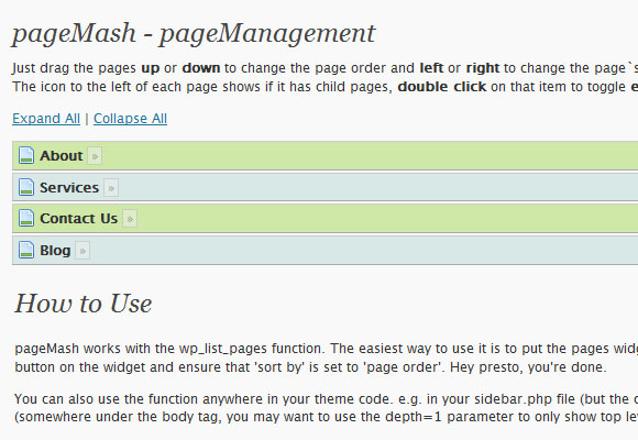 WordPress Pagemash