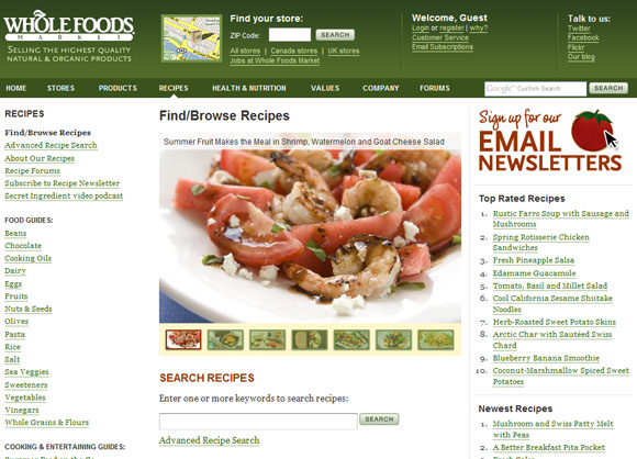 Whole Foods Homepage
