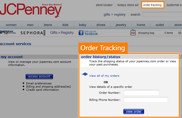 JCPenny order tracking