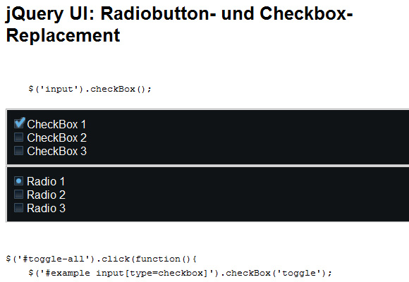 jQuery UI: Radio Button and Check box Replacement