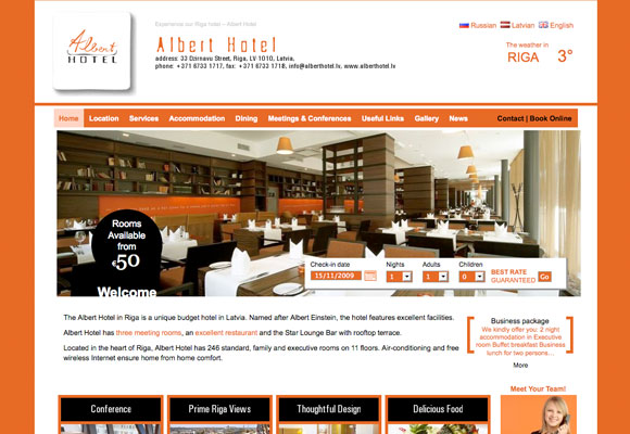 Albert Hotel Riga Is One Such Example In Which Their Website Allows The Customer To Choose Between Languages Like English Russian And Latvian Without