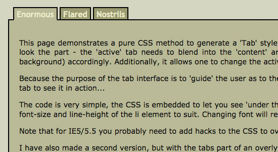 Pure CSS Active Tab