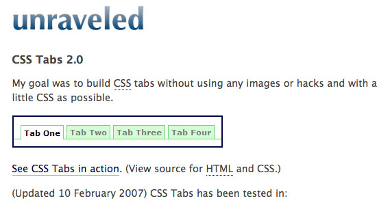 Pure Active CSS Tab