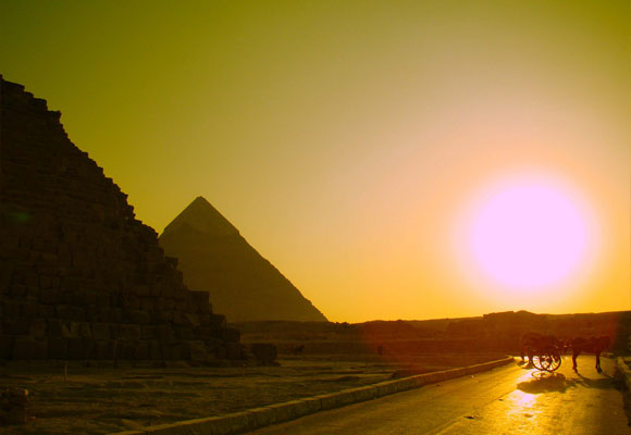 The Pyramids at the Sunset