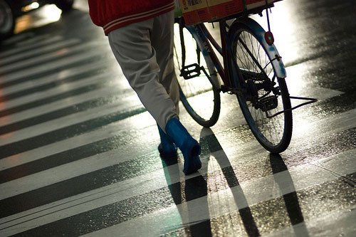 Mr. Blue Boots, His Bike, and A Zebra Cross