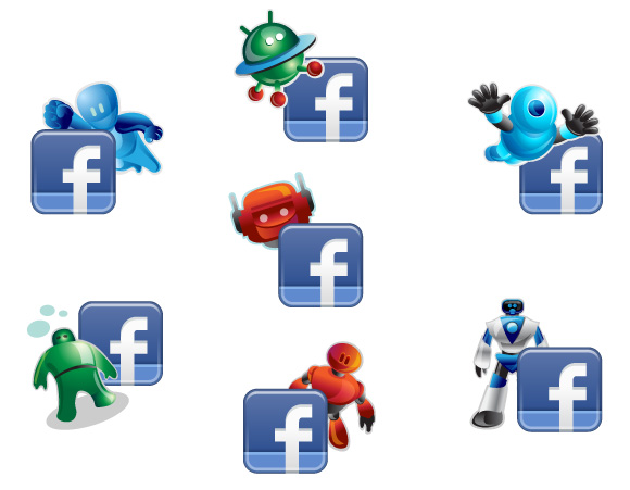 Facebook Robotic Icons