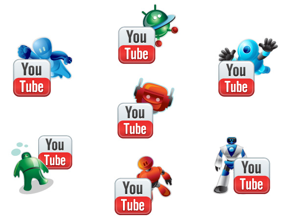 Youtube Robotic Icons