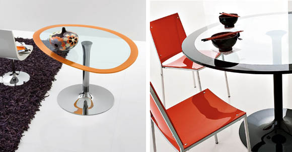 Oval Cocktail Tables - Polo glass pedestal table by Compar 1