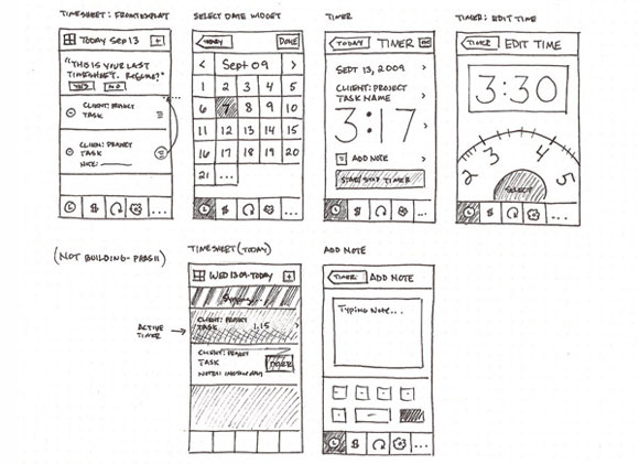 Harvest iPhone App Sketches