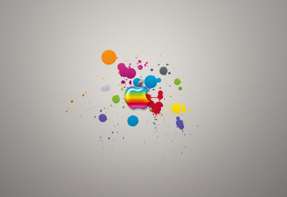 Glossy Apple Colorful Splash Wallpapers