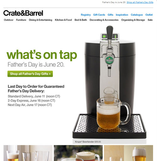 Crate and Barrel Newsletter