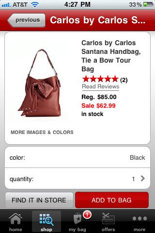 Macy's Mobile Product Detail Page