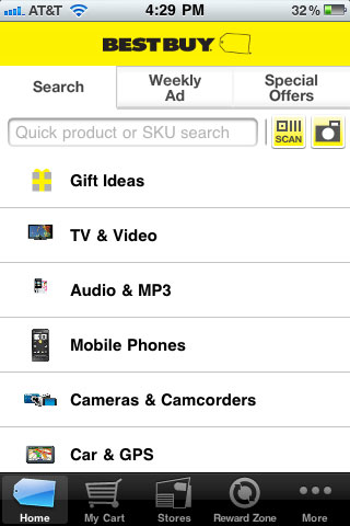 Best Buy Mobile Search Page
