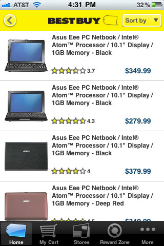 Best Buy Mobile Category Browse Page