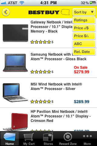 Best Buy Mobile Sort By Options