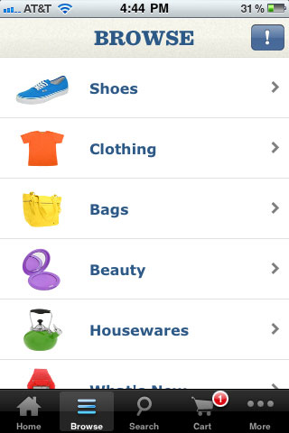 Zappos Mobile Category Browse Section