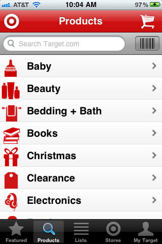 Target Shopping Category Screen