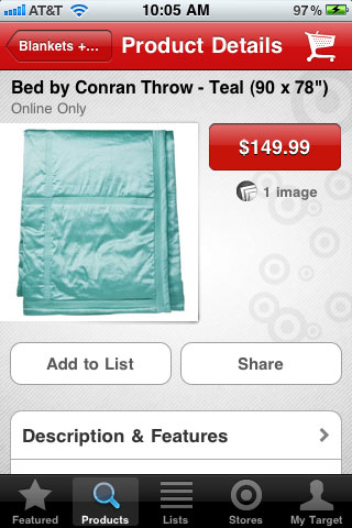 Target Mobile Product Detail Page