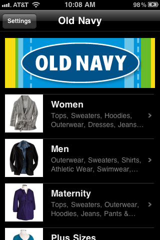 Old Navy Product Category Screen