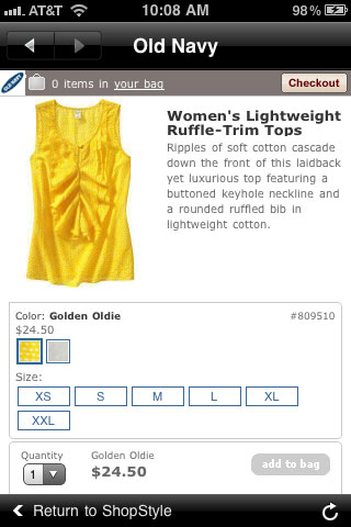 Old Navy Mobile Product Detail Page