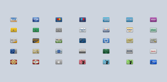 35 Miniature Credit Card Icons