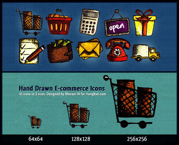 10 Hand Drawn E-Commerce Icons