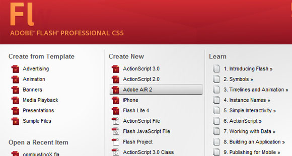 Flash Professional CS5 Startpage