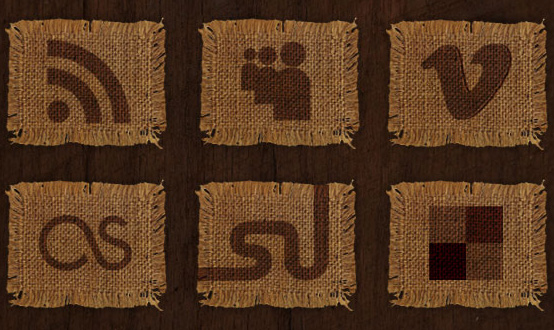 Woven Fabric Social Media Icons Set