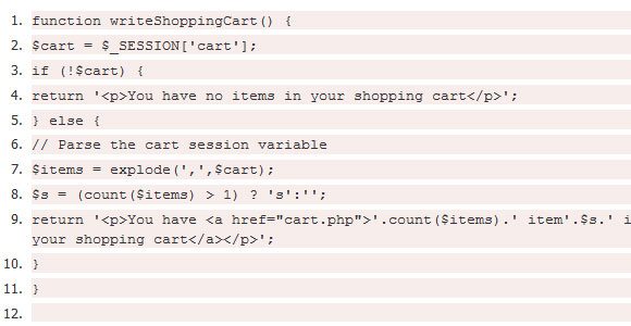 Shopping Cart Code