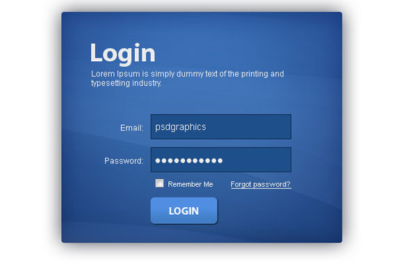 Blue Login Box