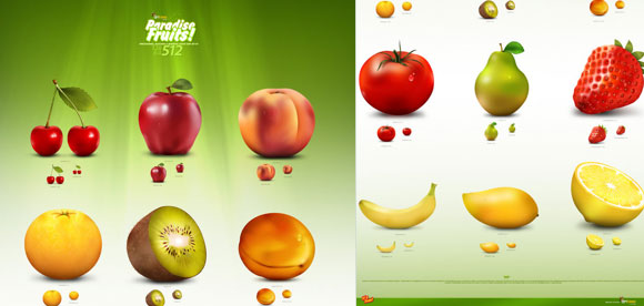 Paradise Fruit Icon Set