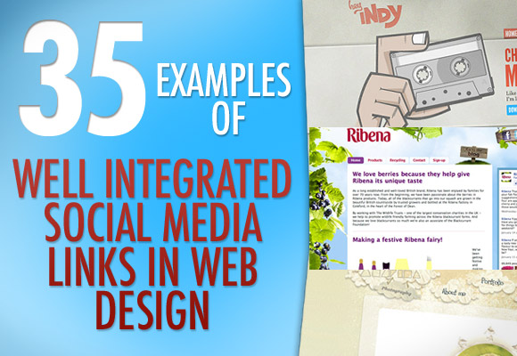 35 examples of well integrated social media links in web design