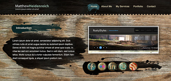 Wooden grunge portfolio web layout