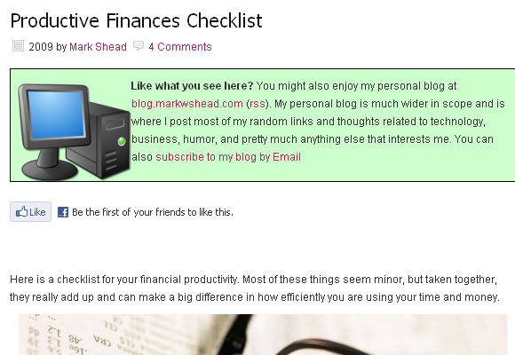Productive Finances Checklist