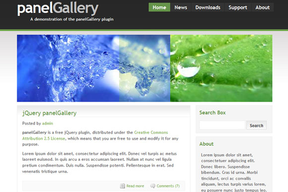 jQuery Panel Gallery