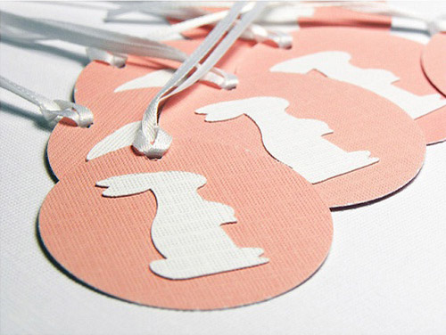 Pink and White Bunny Scalloped Gift Tags
