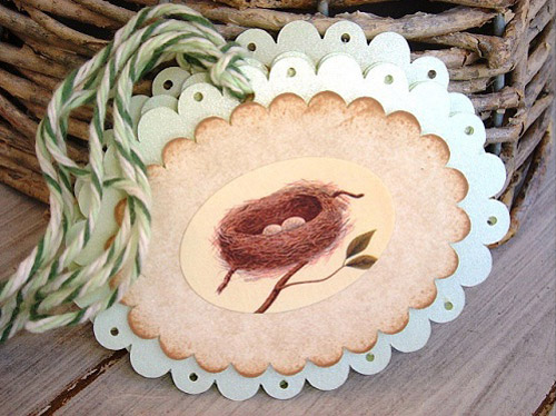 Bird Nest Scalloped Tags