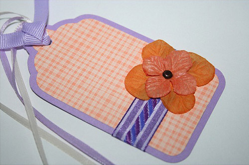 Purple and Orange Gingham Gift Tags