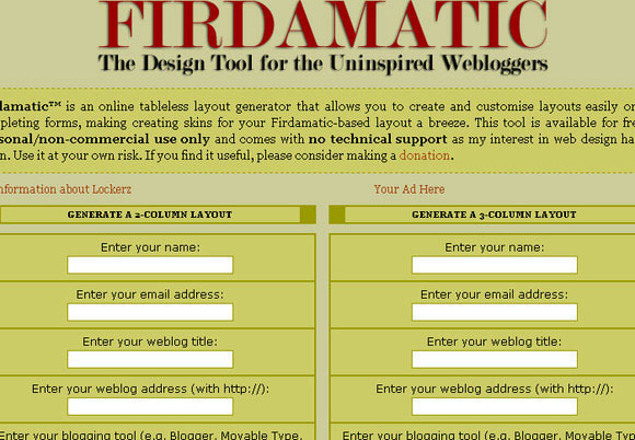 Firdamatic: the Design Tool for the Uninspired Webloggers