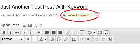 Post URL with Keyword