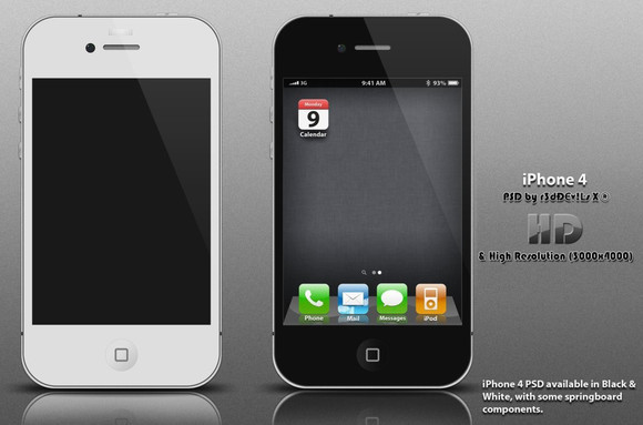 iPhone 4 PSD : HD