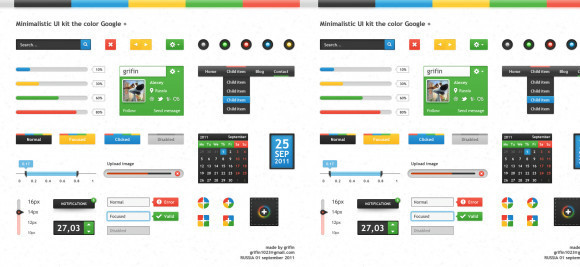 Minimalistic UI kit the color Google+
