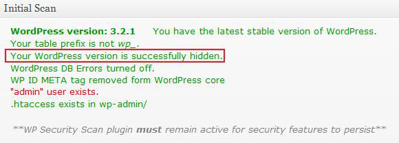 WordPress Version Hidden