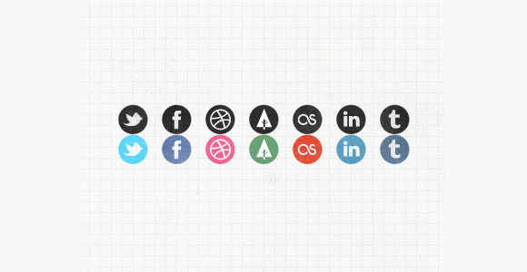 Grungy social media icons