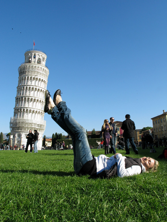 Suzi holding the Leaning Tower of Pisa